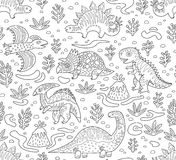Dinosaurs ink seamless pattern. Coloring book page. Cartoon dinosaurs seamless pattern in outline. Hand drawn vector illustration Royalty Free Stock Photo