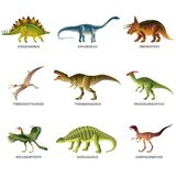 Dinosaurs isolated on white vector set Royalty Free Stock Images