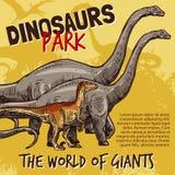 Vector sketch of dinosaurs park poster. Dinosaurs Jurassic park poster of T-rex, brnotosaurus and stegosaurus giants. Vector sketch design of triceratops stock illustration