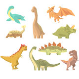 Dinosaurs Of Jurassic Period Set Of Prehistoric Extinct Giant Reptiles Cartoon Realistic Animals. T-Rex, Pterodactyl, Triceratops And Other Dinosaur Species stock illustration