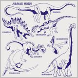 Dinosaurs of Jurassic period vector format land line art illustration for coloring and draw. Paleontology scene of dinosaurs of Jurassic period vector format royalty free illustration