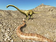 Dinosaurs Jurassic prehistoric scene dinosaur fighting with snake 3d rendering Royalty Free Stock Photography