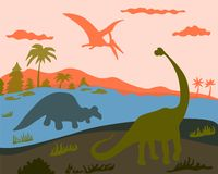 3 dinosaurs on land, water and land stock illustration