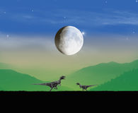 Dinosaurs landscape evening. Dinosaurs era landscape in a moonlight Stock Photo