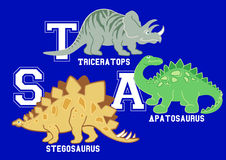 Dinosaurs letters Triceratops, Apatosaurus and Stegosaurus Royalty Free Stock Photo