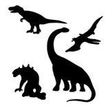 Dinosaurs (lizards) silhouettes set (drawings) Stock Photos
