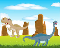 Dinosaurs on meadow. The Prehistorical animals dinosaurs on green meadow.Vector illustration Royalty Free Stock Photography