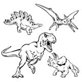 Dinosaurs Monochrome Hand Drawn Icons Set. With t-rex triceratops stegosaurus and pterodactyl  vector illustration Royalty Free Stock Image