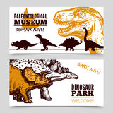 Dinosaurs museum exposition 2 banners set Stock Photo