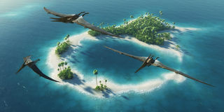 Dinosaurs natural park. Jurassic Period. Dinosaurs flying above paradise tropical island. 3D rendering illustration Stock Photography