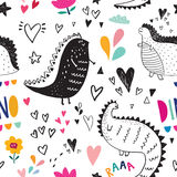 Dinosaurs in nature. Seamless pattern with cute black dinosaurs in nature Stock Photos