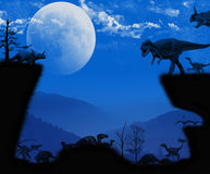 Dinosaurs Night Atmosphere Royalty Free Stock Photo