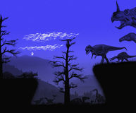 Dinosaurs Nocturnal Atmosphere Royalty Free Stock Photo