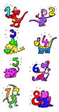Dinosaurs with numbers Royalty Free Stock Image
