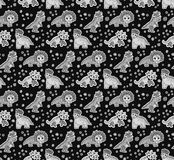 Dinosaurs objects gray scale seamless pattern Royalty Free Stock Images