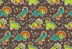 Dinosaurs objects seamless pattern. Stock Photo