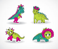 Dinosaurs objects shadow. Royalty Free Stock Photos