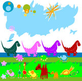 Dinosaurs and other little animals royalty free illustration