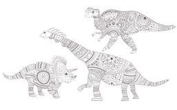 dinosaurs Page de coloration Vecteur cartoon Art d'isolement illustration de vecteur