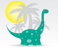 Dinosaurs and palms Royalty Free Stock Photography