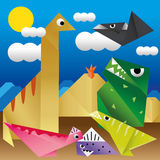 Dinosaurs Paper. On paper background Stock Photography