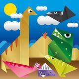 Dinosaurs Paper. On paper background vector illustration
