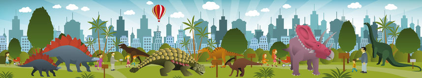 Dinosaurs park royalty free illustration