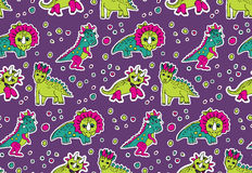 Dinosaurs pink and purple seamless pattern. Royalty Free Stock Images