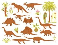 Dinosaurs And Plants Set. Dino mesozoic era flora set with flat isolated images of prehistoric plants and various dinosaur species vector illustration Royalty Free Stock Image