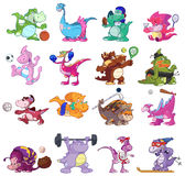 Dinosaurs playing sports. Illustrated set of cartoon dinosaurs playing different sports, isolated on white background Royalty Free Stock Photo