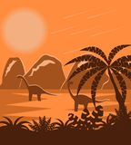 Dinosaurs in Prehistoric Jurassic Park Flat Landscape. Two reptiles in ancient landscape Stock Photo