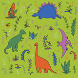 Dinosaurs and prehistoric plants Royalty Free Stock Photos