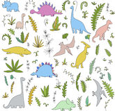 Dinosaurs and prehistoric plants set Royalty Free Stock Photography
