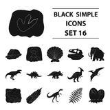 Dinosaurs and prehistoric set icons in black style. Big collection of dinosaurs and prehistoric vector symbol stock. Dinosaurs and prehistoric set icons in black Stock Photo