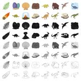 Dinosaurs and prehistoric set icons in cartoon style. Big collection of dinosaurs and prehistoric vector symbol stock. Dinosaurs and prehistoric set icons in Stock Image