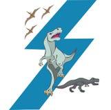 Dinosaurs and pterodactyl. Cartoon style illustration Royalty Free Stock Image