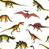 Dinosaurs and pterodactyl types of animals seamless pattern vector Royalty Free Stock Image
