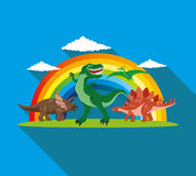 Dinosaurs and rainbow. Stock Image
