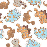 Dinosaurs repeat seemless. Dinosaurs in a repeat seamless pattern Royalty Free Stock Photography
