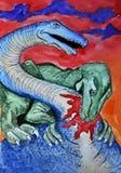 dinosaurs Retrato Aquarela molhada de pintura no papel Arte ingénua Aquarela do desenho no papel ilustração royalty free