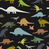 Dinosaurs seamless pattern. Dino texture. Prehistoric monster li. Zard background. Ancient animal cartoon style. Childrens cloth ornament. Vector illustration Royalty Free Stock Images