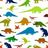 Dinosaurs seamless pattern. Dino texture. Prehistoric monster li. Zard background. Ancient animal cartoon style. Childrens cloth ornament. Vector illustration Stock Photography