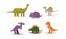 Dinosaurs set, cute geometric Jurassic period animals vector Illustration on a white background. Dinosaurs set, cute geometric Jurassic period animals vector stock illustration
