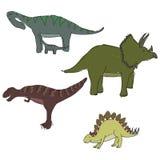Dinosaurs. Set of doodle style dinosaurs Stock Image