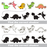 Dinosaurs set. Find correct shadow. Dinosaurs set with shadows to find the correct one. Compare and connect objects. and their true shadows. Logic game for stock image