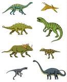 Dinosaurs set, triceratops, barosaurus, tyrannosaurus rex, stegosaurus, pachycephalosaurus, diplodocus, deinonychus. Velociraptor skeletons fossils Prehistoric Royalty Free Stock Photos