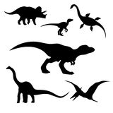 Dinosaurs set vector. Dinosaurs set of silhouettes. Wild animals pattern vector illustration