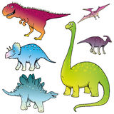 Dinosaurs set - vectors Stock Photography