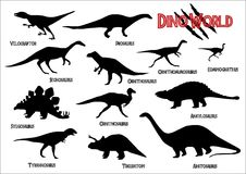 Dinosaurs silhouettes. Set of dinosaurs silhouettes with names Royalty Free Stock Photo