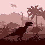 Dinosaurs silhouettes layers background  banner Stock Image